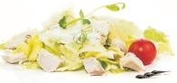 Салата Кастилия /айсберг, селъри, краставици, ориз, варени пилешки късчета и крем сос с кисели краставички/