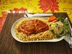 CHELA MASU lamb in traditional sauce garnished with specially made bulgur