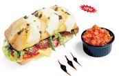 Чабата с колбаси Блек Ангъс /домати, рукола, айзберг, песто, чедър/