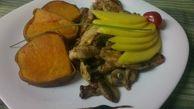 ПИЛЕ ПО ЕКВАДОРСКИ СЪС СЛАДЪК КАРТОФ И МАНГО  (350 гр.) пиле филе, розмарин,гъби, соев сос, чесън, горчица