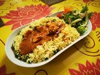 MURGHI BHAT chicken fillet in a distinct sauce, basmati rice with vegetables