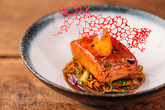 PETRU'S STYLE SALMON - with Masago caviar, eel sauce, Soba noodles with vegetables and japanese sauce