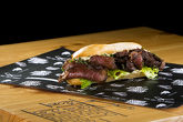 ROYAL BEEF SANDWICH 300 g. - (Baguete , fine cuts of tenderloin, iceberg, green onions, homemade Miso Mayo sauce)