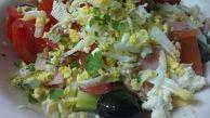 ОВЧАРСКА САЛАТА  (350 гр.) домати, краставици, чушки, шунки, сирене, кашкавал, яйце, гъби, лук и маслини