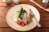 SHOPSKA SALADS - traditional salad with tomatoes, cucumbers, spring onion, peppers, cheese, parsley and chili pepper