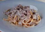 ТОНАРЕЛО от прясна паста с тосканска наденица, манатарки, сметана и пармиджано
